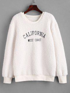 Sweat-shirt Lettre BrodéeFourré - Blanc Xl