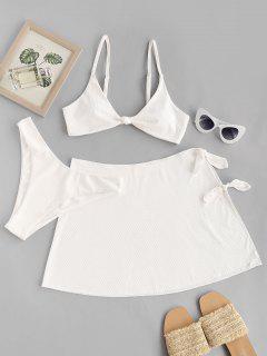 ZAFUL Ribbed Knotted High Leg Three Piece Bikini Swimwear - White S