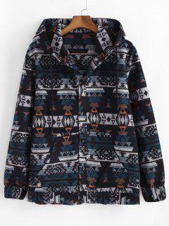 Ethnic Tribal Pattern Hooded Jacket - Blue 2xl