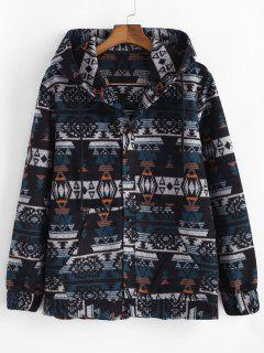 Ethnic Tribal Pattern Hooded Jacket - Blue M