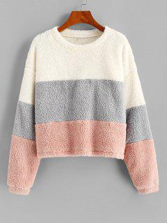 ZAFUL Plush Faux Fur Color Blocking Sweatshirt - Multi-a S