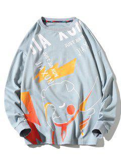 Letter Animal Pattern Graphic Sweatshirt - Blue M