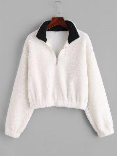 ZAFUL Half Zip Drop Shoulder Teddy Sweatshirt - White S