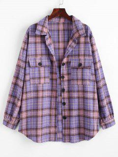 Flap Pockets Plaid Tartan Flannel Shacket - Purple M