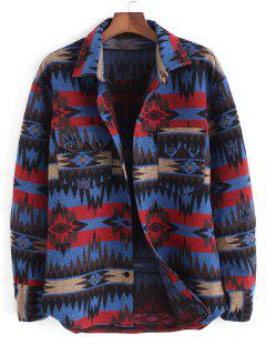 Ethnic Tribal Pattern Pocket Button Up Jacket - Blue 2xl
