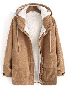Faux Fur Raglan Sleeve Hooded Corduroy Jacket - Light Coffee L