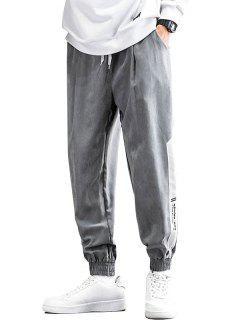 Farbblock Panel Buchstabedruck Beam Füße Hose - Grau Xl