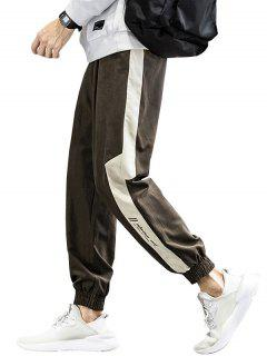 Colorblock Panel Letter Print Beam Feet Pants - Brown Xl