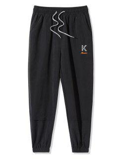 Pantaloni Con Ricamo Lettere - Nero L