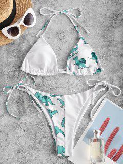 ZAFUL Dinosaur Print Skimpy String Bikini Swimwear - Tron Blue L