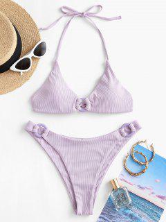 ZAFUL Ribbed O Ring Cheeky Bikini Swimwear - Purple S