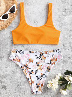 ZAFUL Costume Da Bagno Bikini A Gamba Alta Con Stampa Floreale Di Zaful - Giallo L