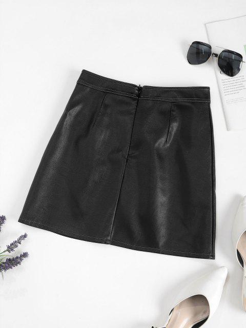 Mini Jupe Boutonnée en Cuir PU avec Poches - Noir M Mobile