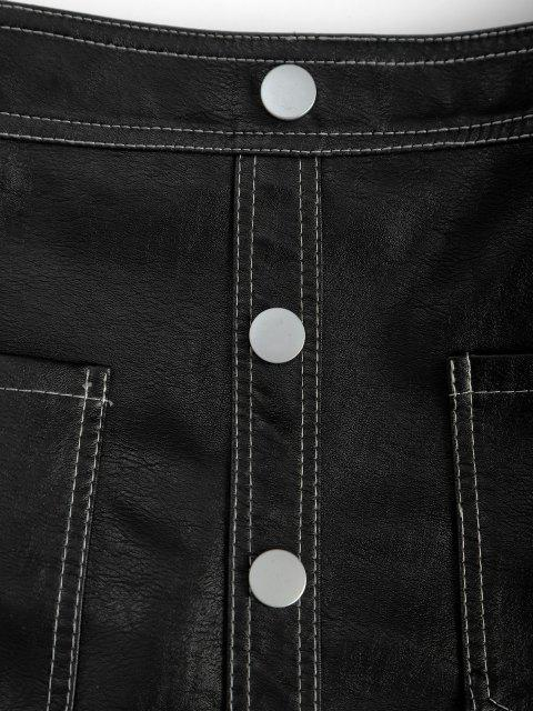 ladies Pockets Mock Button PU Leather Mini Skirt - BLACK XL Mobile