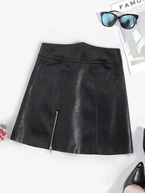 womens Zippered Front Angled Waist PU Leather Skirt - BLACK L Mobile