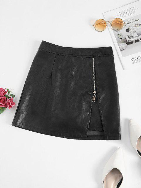 online Zippered Notched Front PU Leather Mini Skirt - BLACK M Mobile
