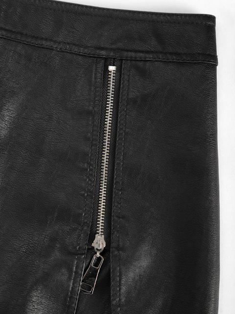 shop Zippered Notched Front PU Leather Mini Skirt - BLACK XL Mobile