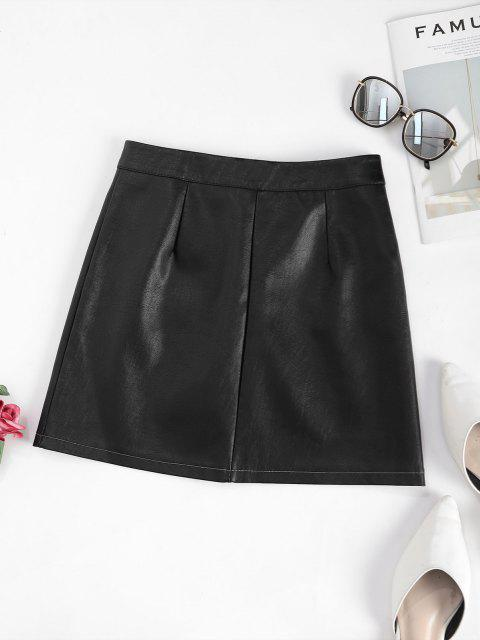 affordable Zip Up Front Pockets PU Leather Skirt - BLACK M Mobile