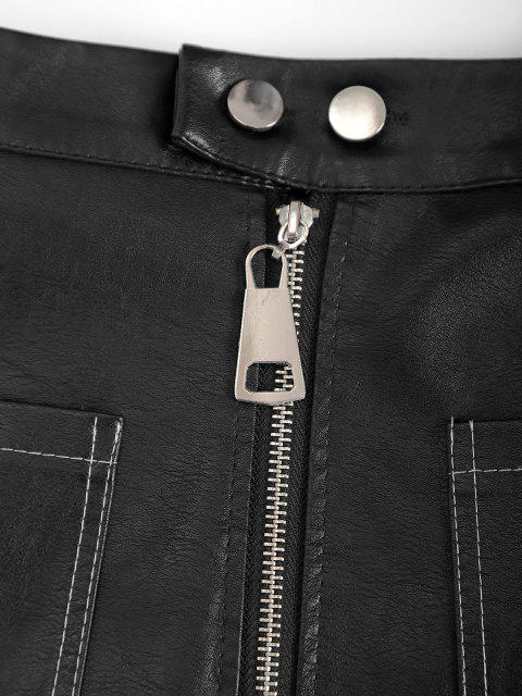 Reißverschluss Eine Linie PU Leder Rock - Schwarz L Mobile