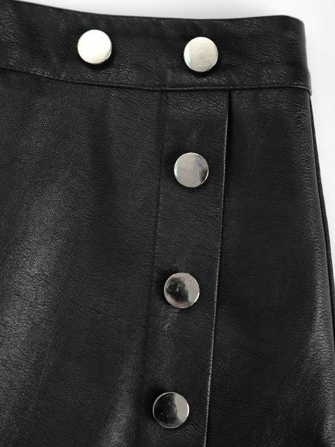 chic Zippered Front Mock Button PU Leather Mini Skirt - BLACK M Mobile