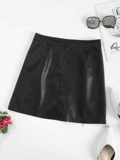 womens Zippered Front Mock Button PU Leather Mini Skirt - BLACK XL Mobile