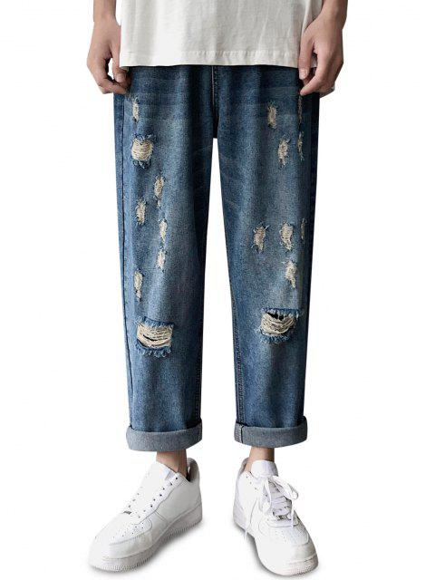 sale Zipper Fly Destroyed Tapered Pants - SILK BLUE M Mobile