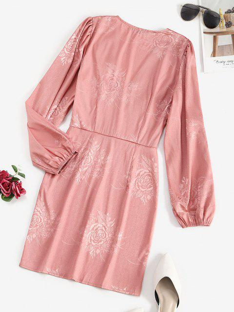 chic Buttoned Front Floral Jacquard Long Sleeve Dress - LIGHT PINK L Mobile