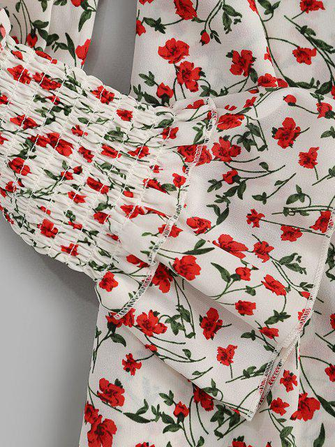 Knopf Schleife Winziges Blumen Kittel Ärmel Minikleid - Multi S Mobile