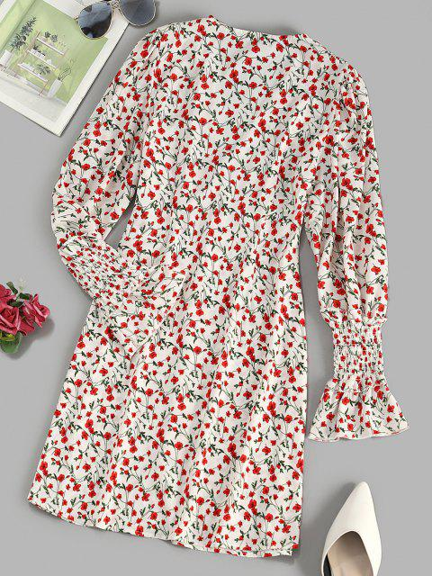 trendy Button Loop Tiny Floral Smock Sleeve Mini Dress - MULTI M Mobile