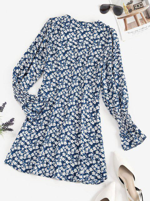 chic Tiny Floral Button Loop Empire Waist Mini Dress - BLUE S Mobile