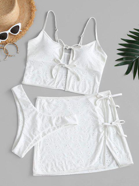 best ZAFUL Eyelet High Leg Tie Front Three Piece Swimwear - WHITE S Mobile
