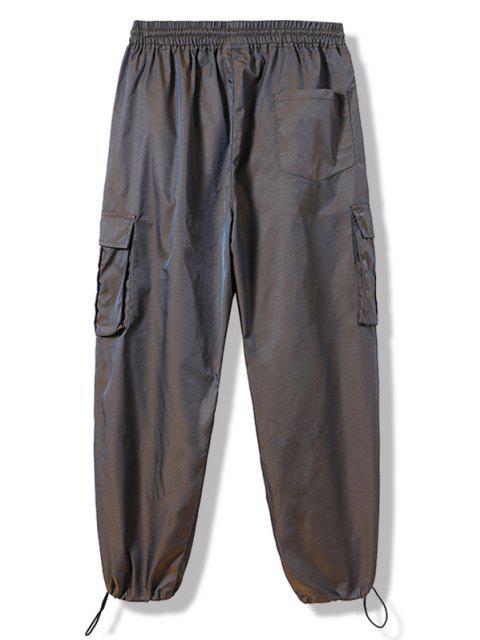 Pantalones Cintura Elástica con Estampado de Letras Reflexivas - Marrón Oscuro XS Mobile