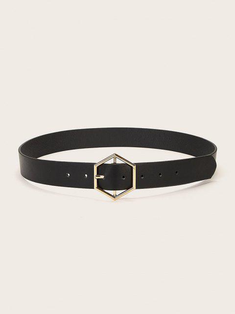 women's Geometric Pin Buckle Wide Belt - BLACK  Mobile