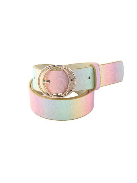 unique Gradient Glitter Circle Buckle Belt - CORN YELLOW  Mobile