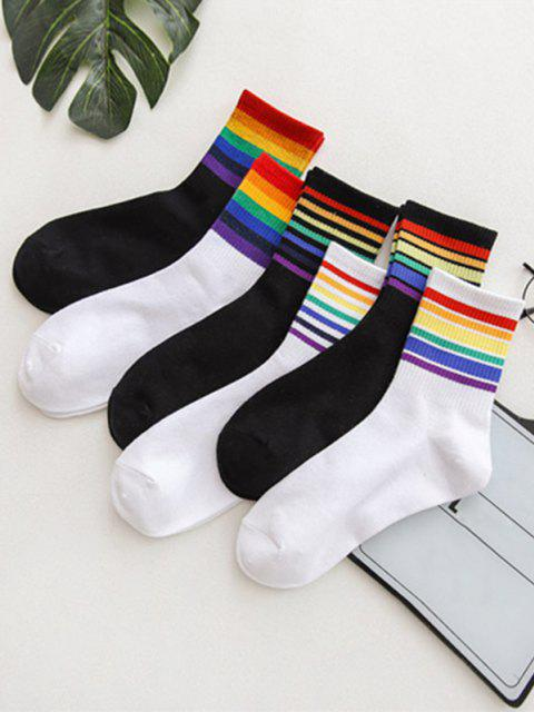 best 6 Pairs Rainbow Colored Stripes Socks Set - MULTI-A  Mobile