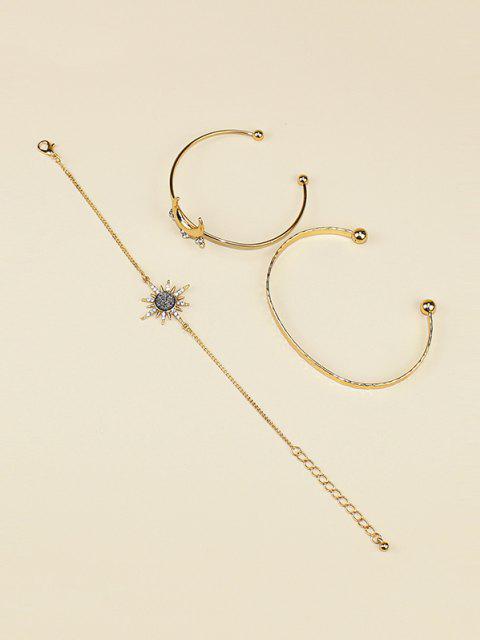 trendy 3Pcs Moon Sun Shape Bracelet Set - GOLDEN  Mobile