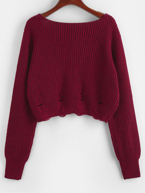 chic ZAFUL V Neck Ripped Crop Sweater - DEEP RED L Mobile
