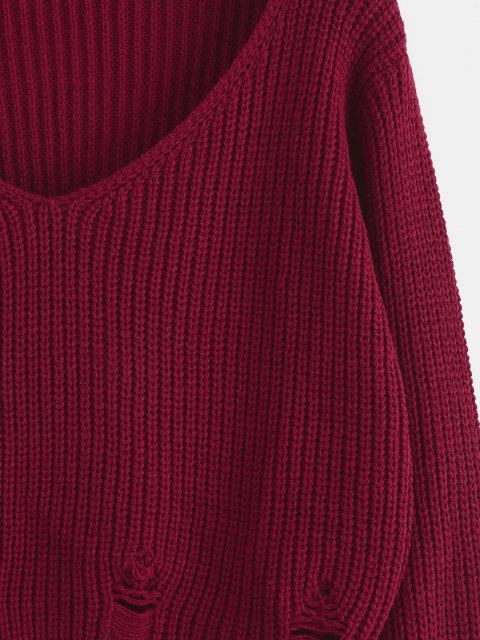 ZAFUL V Ausschnitt Riss Crop Sweatshirt - Tiefrot S Mobile