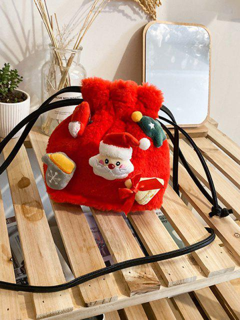 unique Santa Claus Plush Drawstring Bucket Bag - RED  Mobile