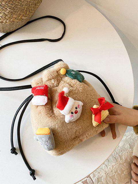 affordable Santa Claus Plush Drawstring Bucket Bag - CAMEL BROWN  Mobile