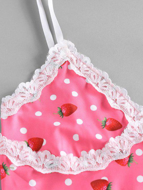 chic ZAFUL Strawberry Dots Print Slip Dress - LIGHT PINK XL Mobile