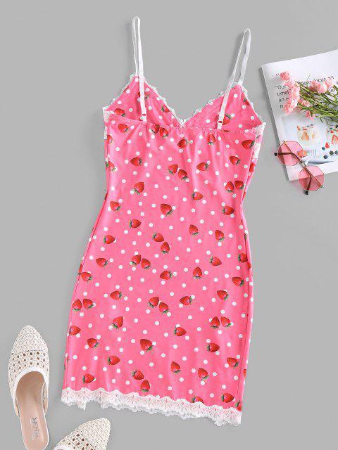 outfit ZAFUL Strawberry Dots Print Slip Dress - LIGHT PINK L Mobile