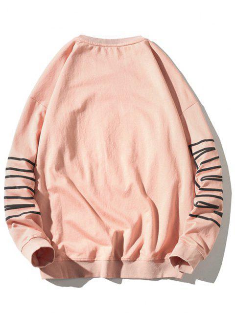 Sweatshirt mit Buchstabe Muster und Rundhalsausschnitt - Rosa XL Mobile