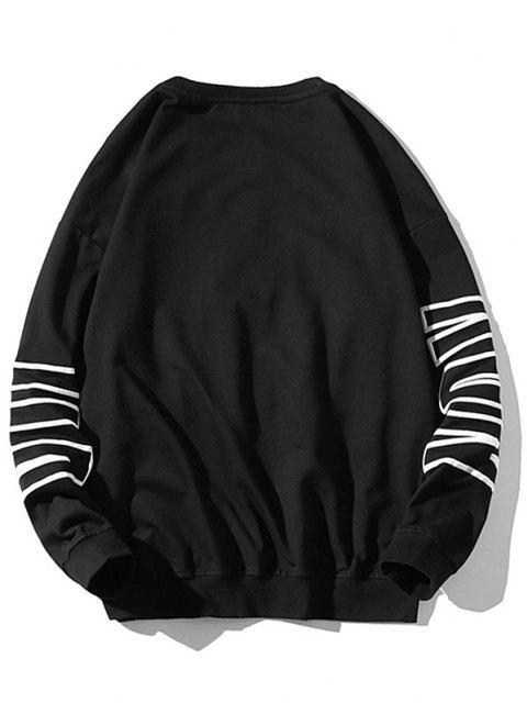 Sweat-shirt Pull-over Motif de Lettre à Col Rond - Noir 4XL Mobile