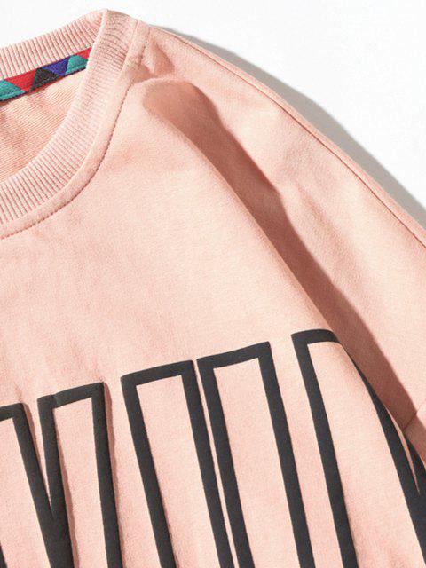 Sweat-shirt Pull-over Motif de Lettre à Col Rond - Rose  4XL Mobile