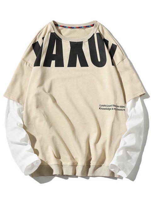 trendy Letter Pattern Faux Twinset Sweatshirt - BEIGE M Mobile