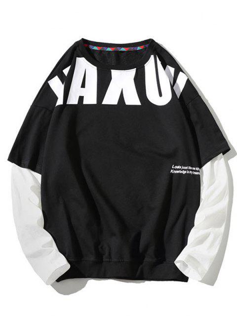 Sweat-shirt Motif de Lettre Fausse Deux Pièces - Noir 4XL Mobile