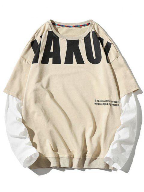 affordable Letter Pattern Faux Twinset Sweatshirt - BEIGE L Mobile