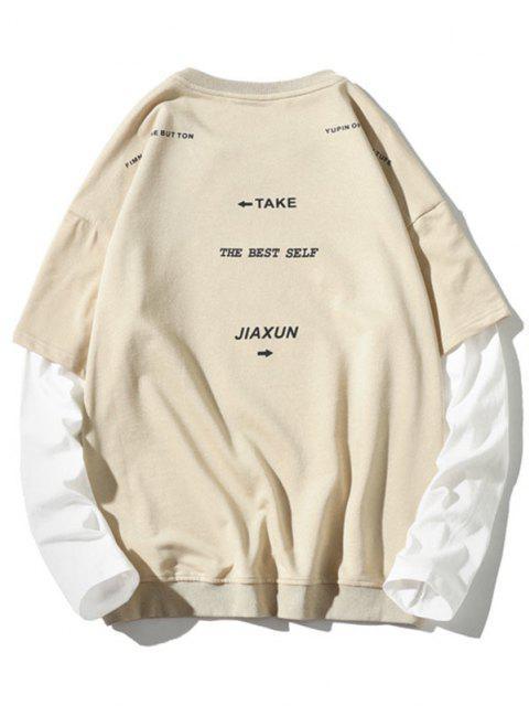 buy Letter Pattern Faux Twinset Sweatshirt - BEIGE 2XL Mobile