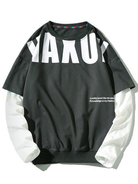 womens Letter Pattern Faux Twinset Sweatshirt - DARK GRAY 3XL Mobile